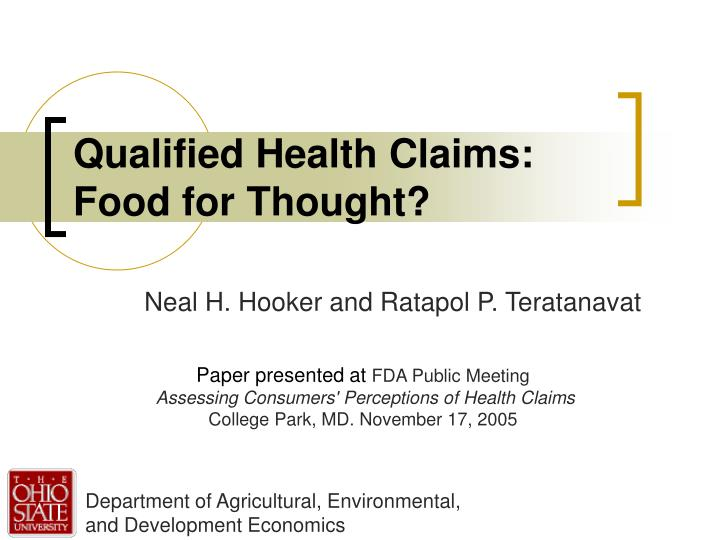 qualified health claims food for thought n.