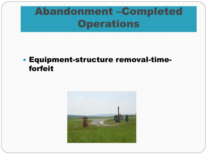 Abandonment –Completed Operations