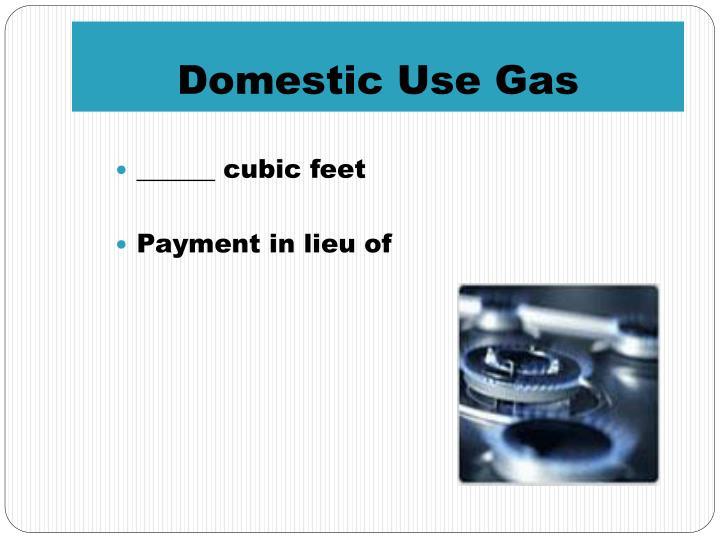 Domestic Use Gas