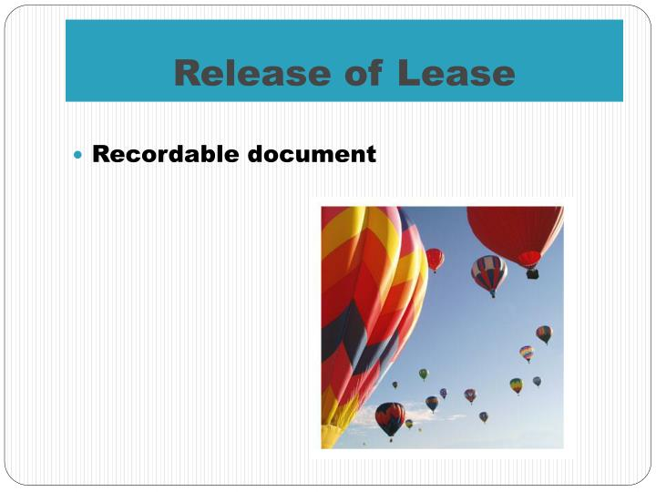 Release of Lease