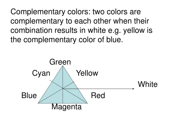 Complementary colors: two colors are complementary to each other when their combination results in white e.g. yellow is the complementary color of blue.