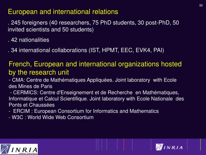 French, European and international organizations hosted by the research unit
