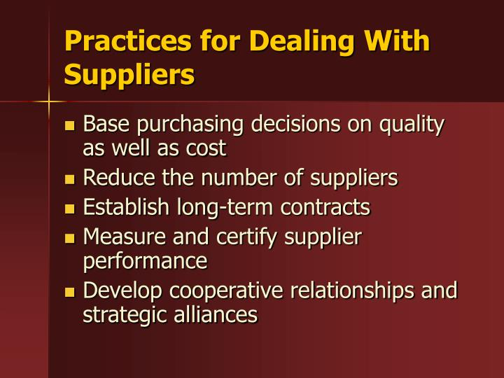 Practices for Dealing With Suppliers