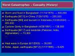 worst catastrophes casualty history