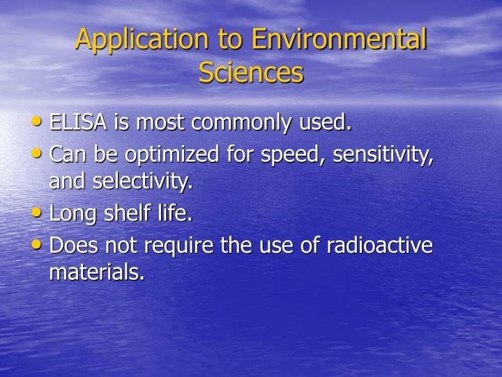 Application to Environmental Sciences