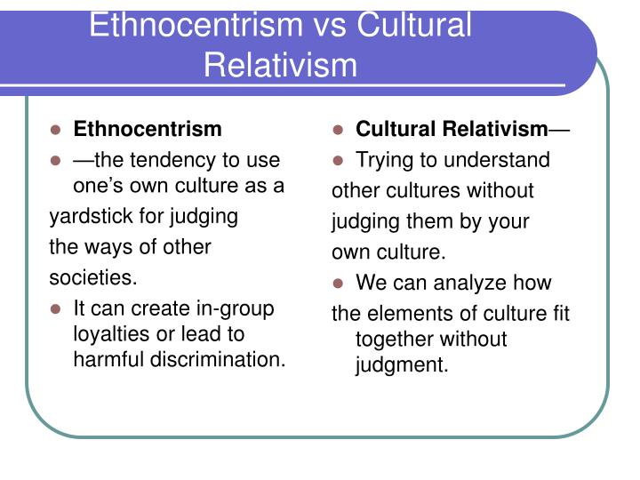 understanding ethnocentrism Understanding ethnocentrism and its relation to race in public health research is particularly important in the united states because of its history of using race in.