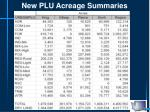 new plu acreage summaries