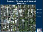 parcels streets and manual matches