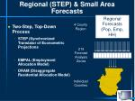 regional step small area forecasts