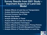 survey results from 2001 study important aspects of land use model