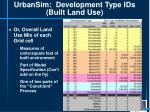 urbansim development type ids built land use