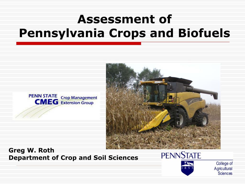 assessment of pennsylvania crops and biofuels l.