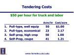 tendering costs