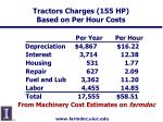 tractors charges 155 hp based on per hour costs