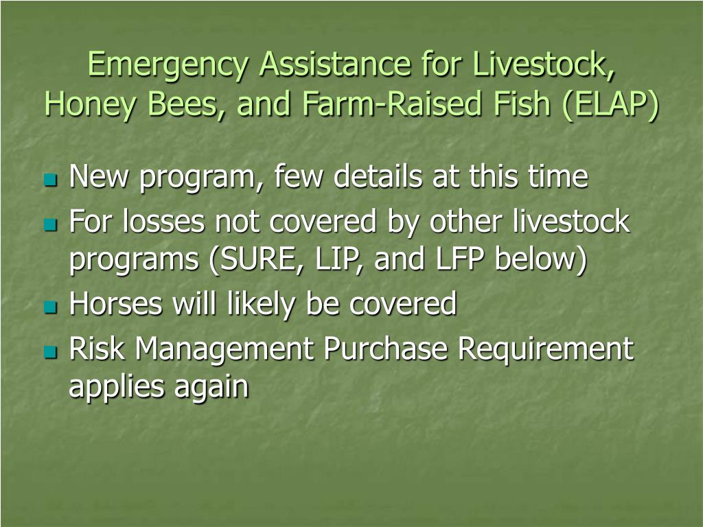 Emergency Assistance for Livestock, Honey Bees, and Farm-Raised Fish (ELAP)