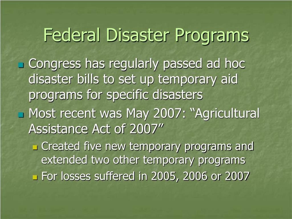 Federal Disaster Programs