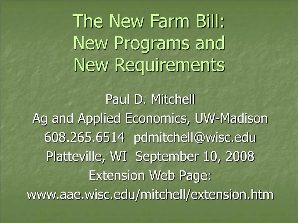 The New Farm Bill: