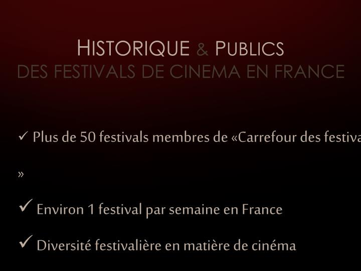 H istorique p ublics des festivals de cinema en france