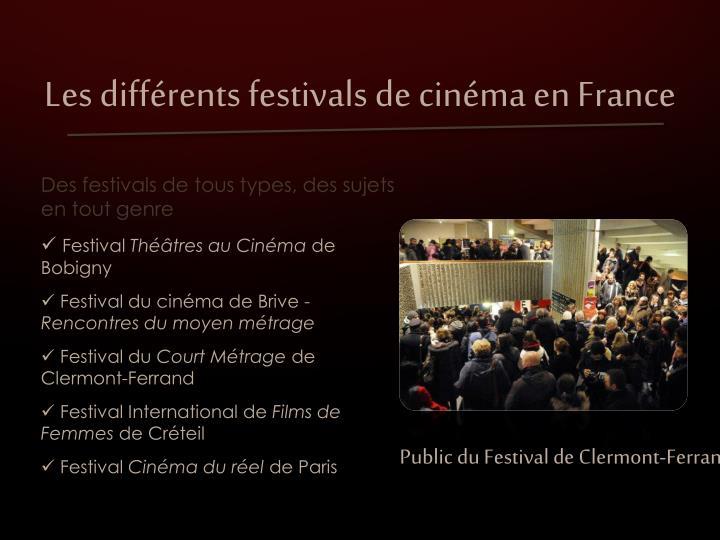 Les différents festivals de cinéma en