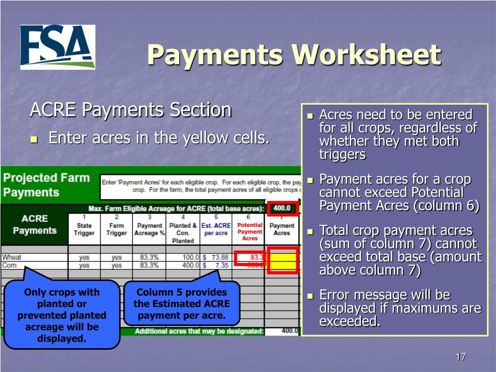 Potential Payment Acres
