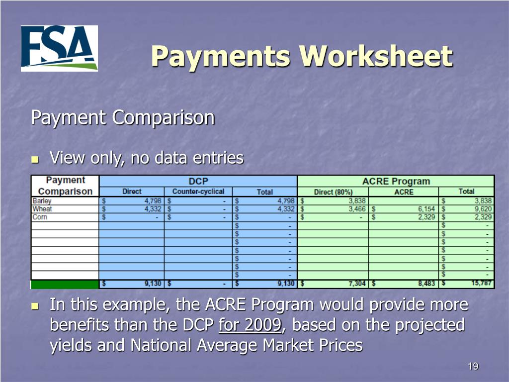 Payments Worksheet