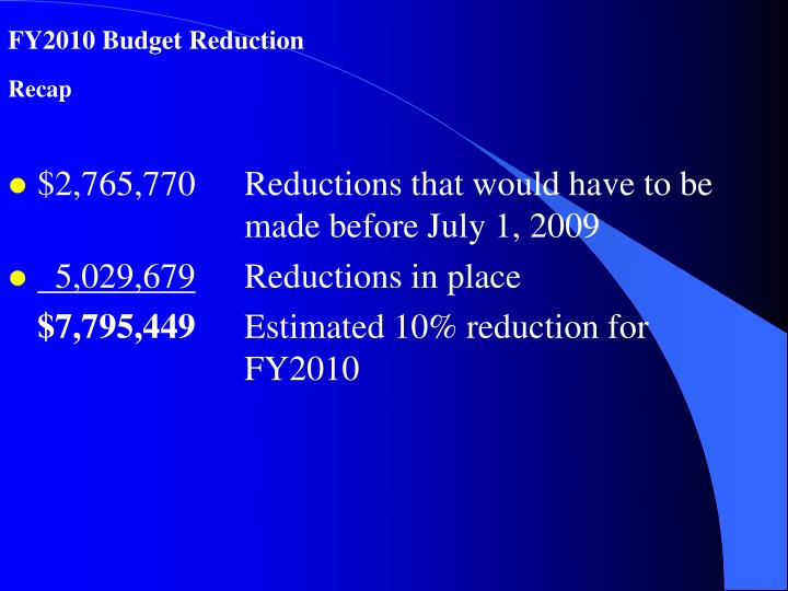 FY2010 Budget Reduction