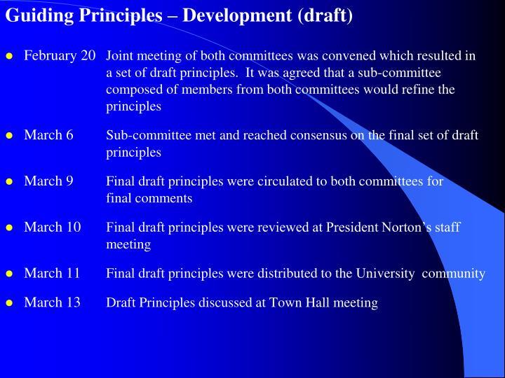 Guiding Principles – Development (draft)