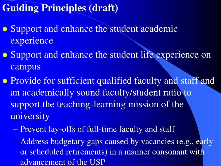 Guiding Principles (draft)
