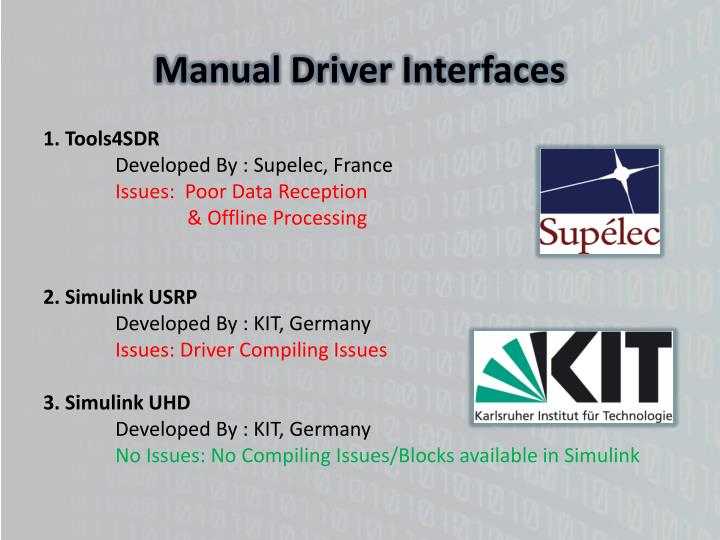 Manual Driver Interfaces