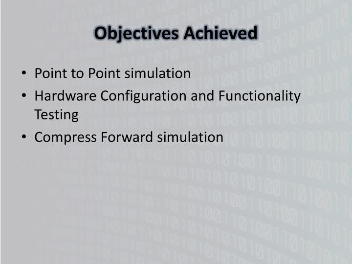 Objectives Achieved