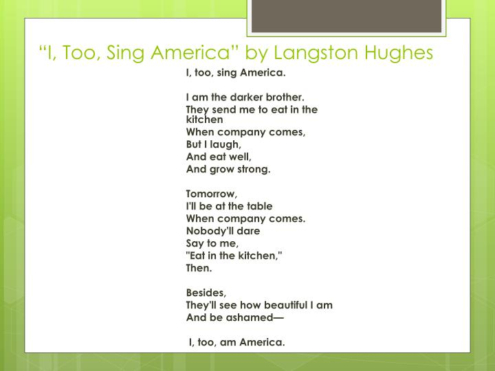 """""""I, Too, Sing America"""" by Langston Hughes"""