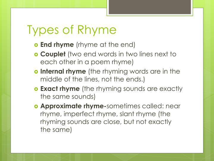 Types of Rhyme