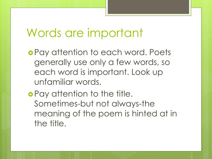 Words are important