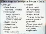 centrifugal centripetal forces india