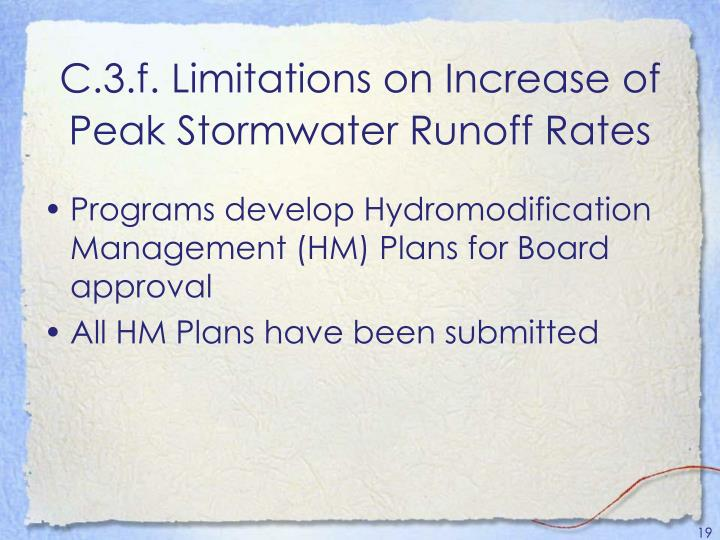 C.3.f. Limitations on Increase of Peak Stormwater Runoff Rates