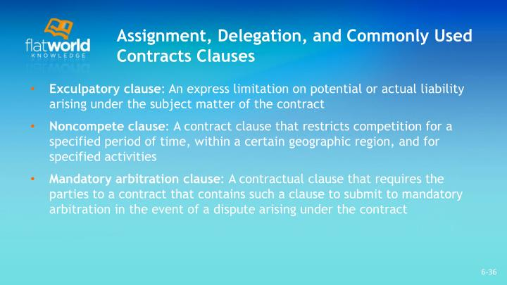 Assignment, Delegation, and Commonly Used