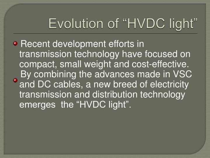 "Evolution of ""HVDC light"""