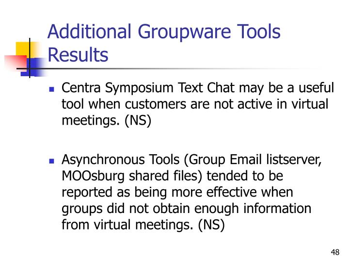Additional Groupware Tools Results