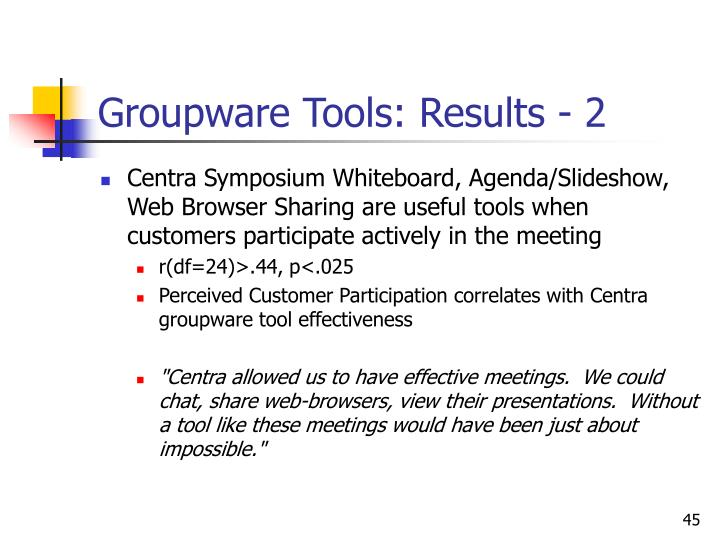 Groupware Tools: Results - 2
