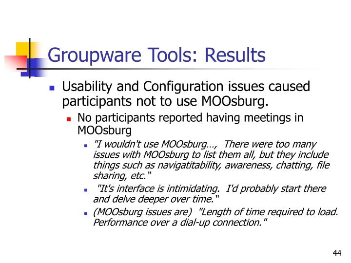 Groupware Tools: Results