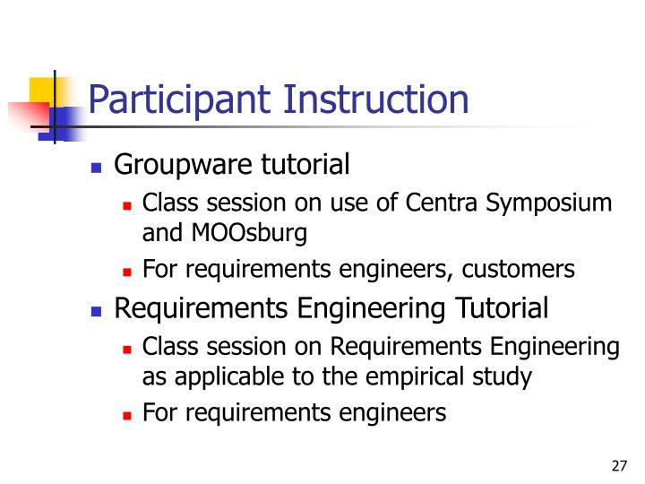 Participant Instruction