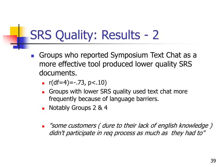 SRS Quality: Results - 2