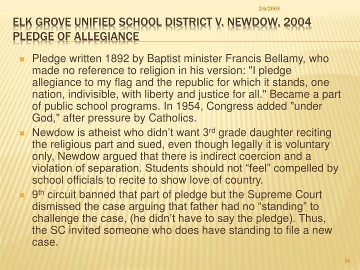elk grove unified school district v newdow The elk grove unified school district board policies and administrative regulations can be accessed through the california school boards.
