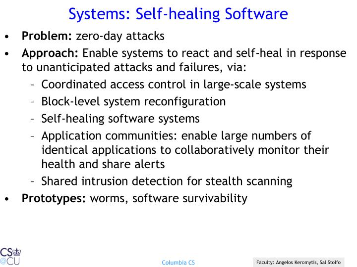 Systems: Self-healing Software