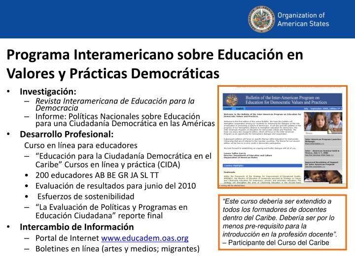 Programa Interamericano sobre Educación en Valores y Prácticas Democráticas