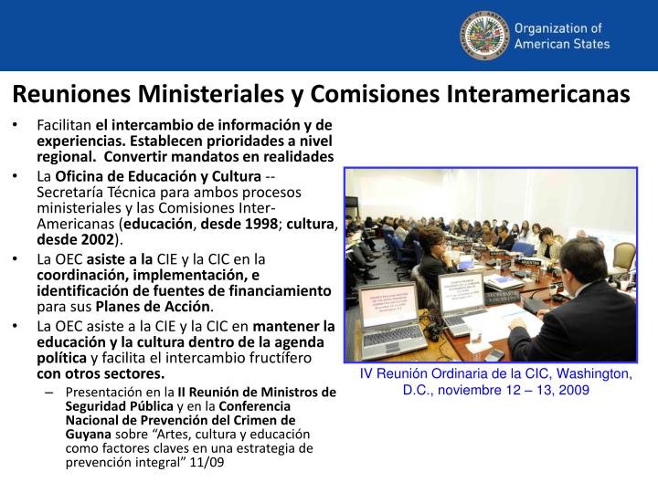 Reuniones Ministeriales y Comisiones Interamericanas