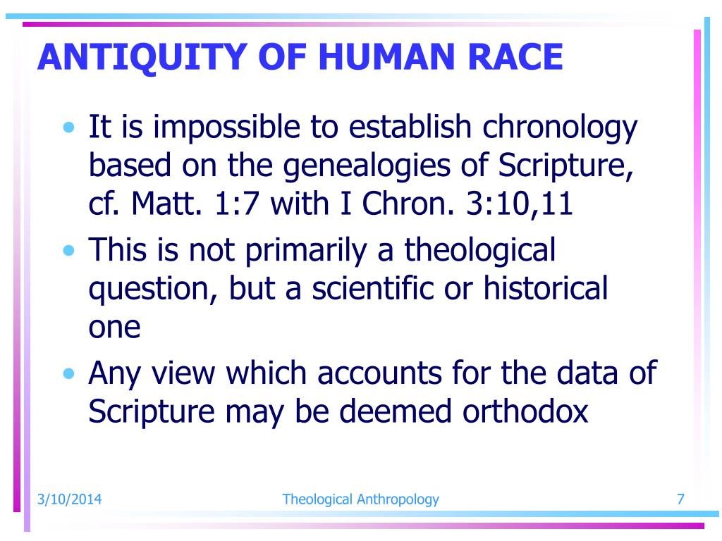 ANTIQUITY OF HUMAN RACE