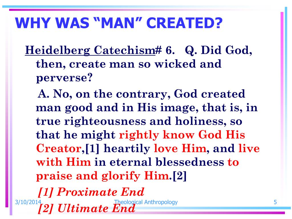 "WHY WAS ""MAN"" CREATED?"