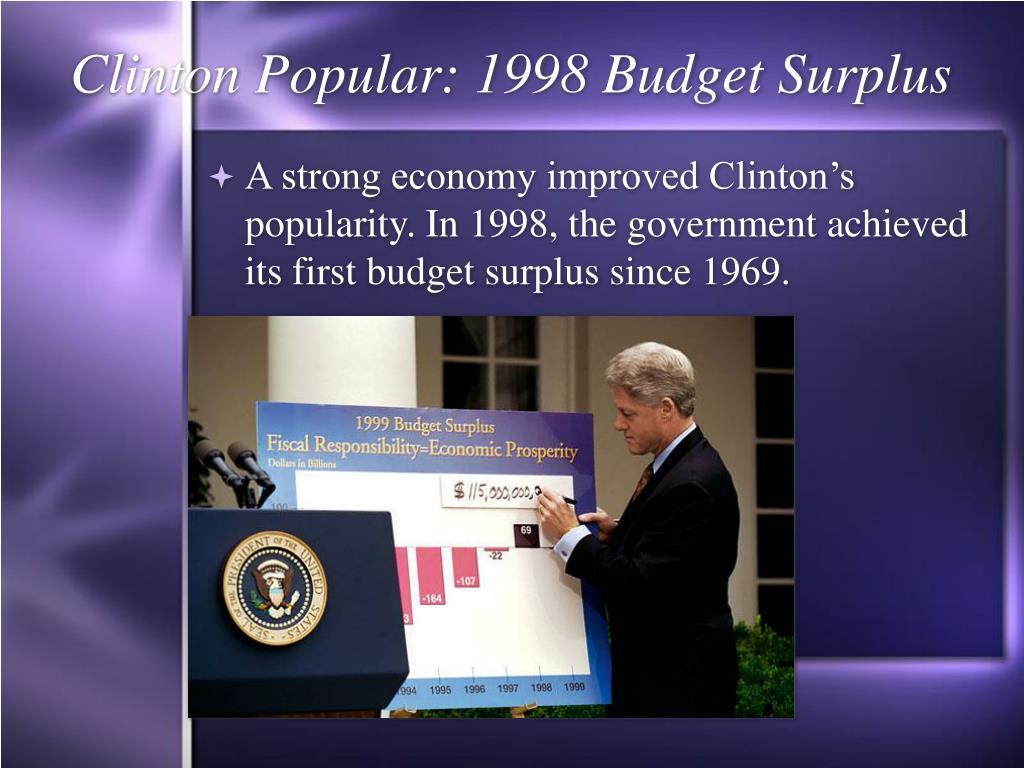 Clinton Popular: 1998 Budget Surplus