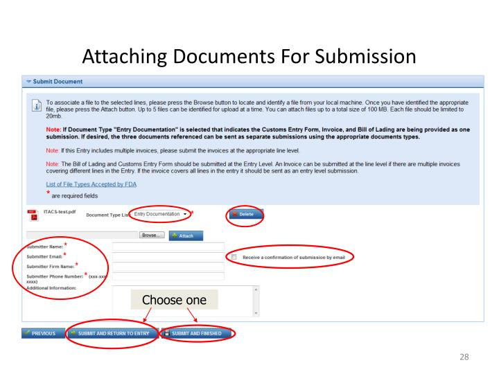 Attaching Documents For Submission
